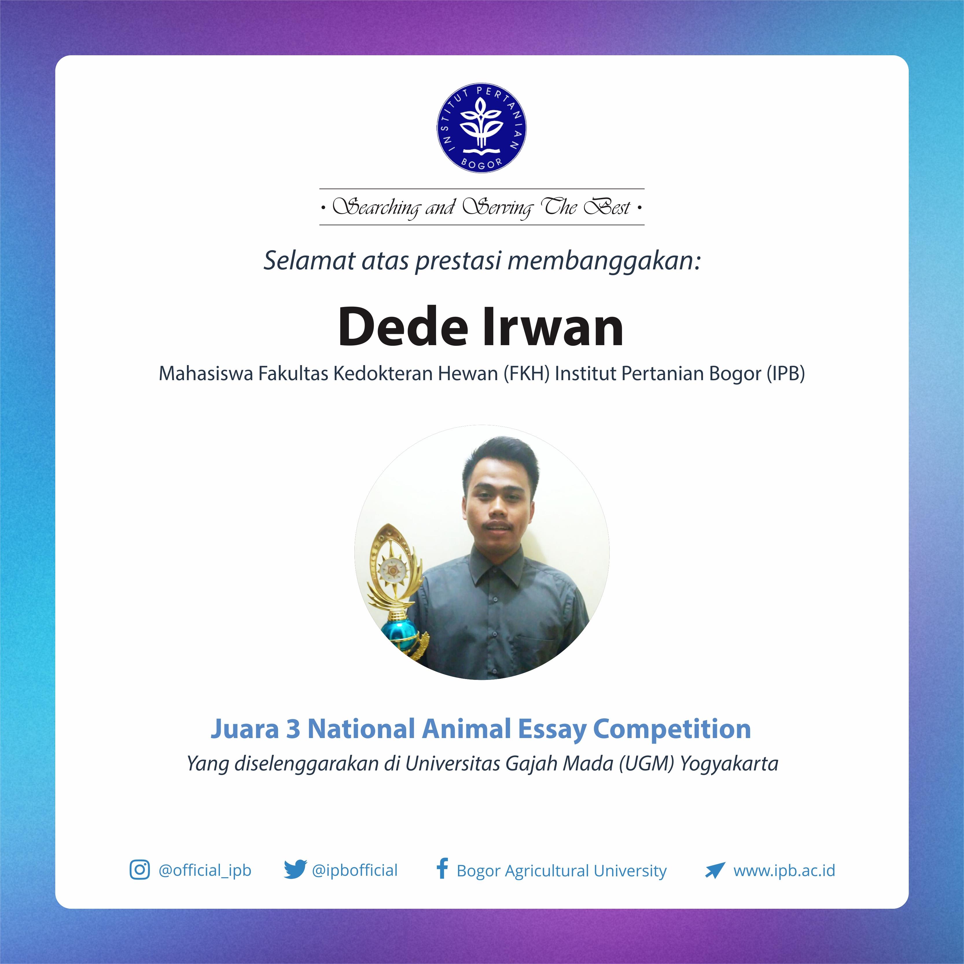 Dede Irwan, Juara 3 Nasional Animal Essay Competition UGM